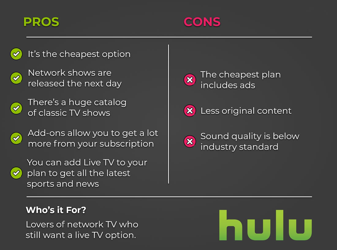 Hulu - Pros & Cons